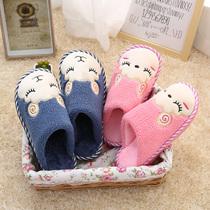 冬天棉拖鞋女室内加厚底防水家居情侣保暖低包跟地板拖鞋男秋冬季