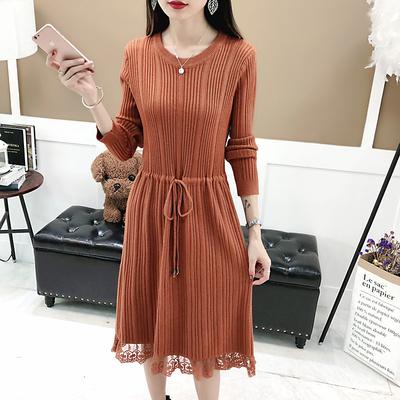 中长款修身系带套头毛衣女蕾丝连衣裙秋冬新款过膝长裙针织打底衫