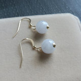Natural ice-seeded jade jade earrings short transfer ball drop 14k bag gold ear nail female gift temperament