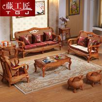 藤沙发组合客厅转角大小户型腾编仿藤藤椅藤艺三人位储物高箱沙发