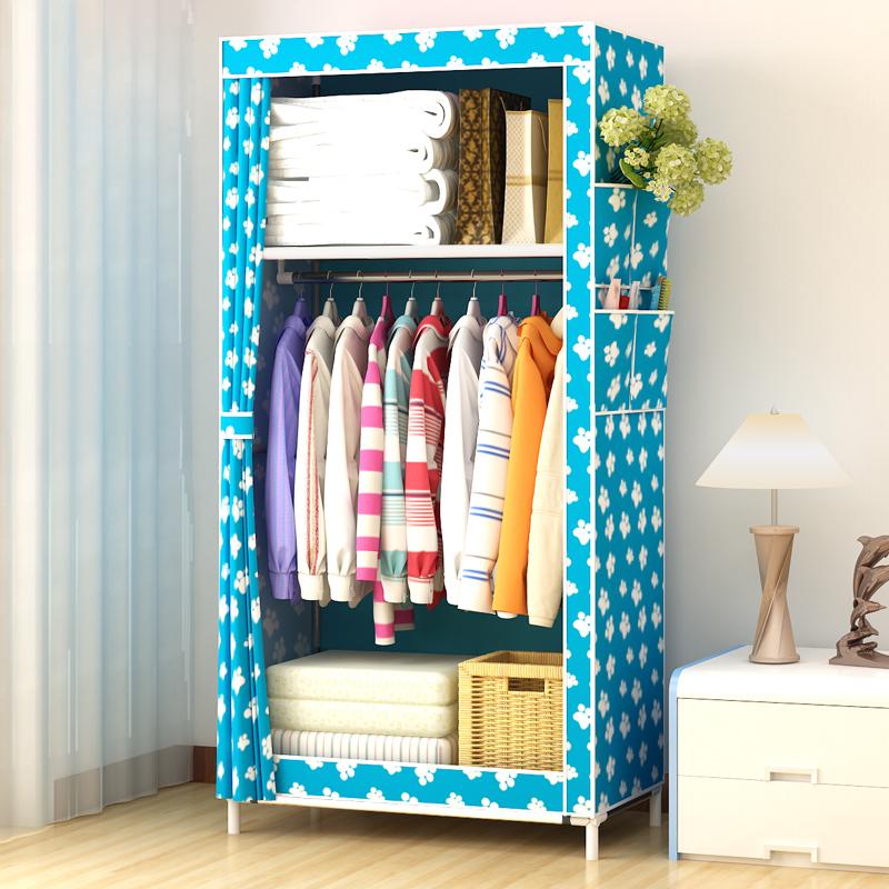 简易衣柜 布艺组装 布衣柜 钢管加固钢架衣橱折叠储物柜经济型
