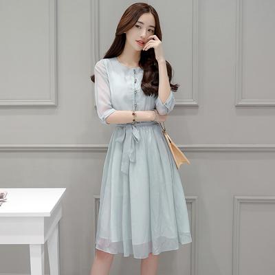 2019新款夏季连衣裙女中长款气质收腰显瘦小清新超仙甜美雪纺裙子
