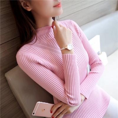 秋季新品韩版修身女装V型镂空针织衫半高领毛衣女套头打底衫女