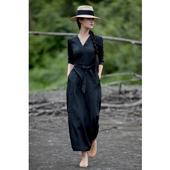 艺在原创春装新品黑色风衣棉麻V领长款气质连衣裙修身显瘦外套