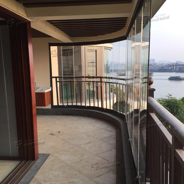 封阳台无框折叠窗玻璃铝合金门窗折叠伸缩铝合金窗户隐形无框阳台