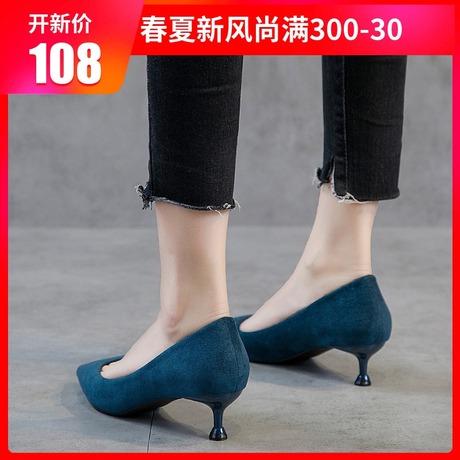 低帮鞋高跟鞋女秋2018新款尖头猫跟鞋细跟3cm韩版单鞋百搭女鞋商品大图