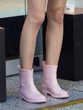 Dr秋冬休闲中筒女式水靴胶鞋套鞋雨靴防滑保暖水鞋成人户外雨鞋女