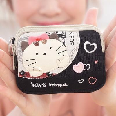 新款 台湾奇乐猫 可爱猫咪女韩国帆布艺硬币双层小零钱包 221317