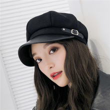 Berry Hat Female Autumn and Winter Wool British Duck Tongue Cap Korean Edition Japanese Chaotic Octagonal Hat Net Red Bud Cap