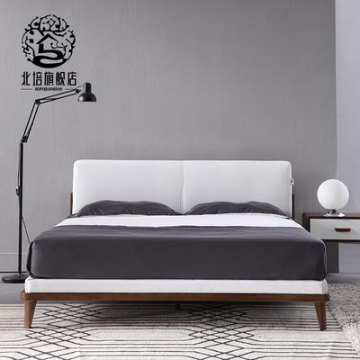 实木双人床1.8米主卧软靠床小户型宜家床简约现代北欧实木家具网店网址