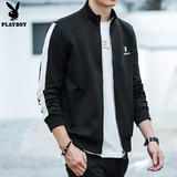 Playboy sweater men spring and summer 2019 new Korean version of the trend jacket men's white casual cardigan t-shirt