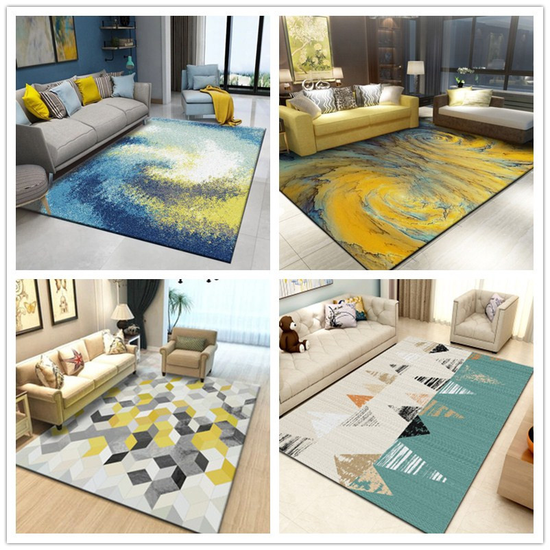 蓝色地毯客厅