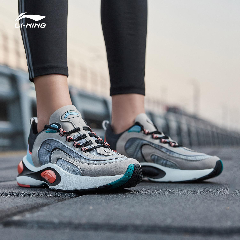 李宁女鞋跑步鞋秋季新款网面透气减震跑鞋潮流内增高复古运动鞋子