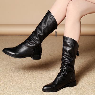 施铂薇2018新款真皮平底平跟短靴舒适尖头倒靴时尚马丁靴潮女靴子