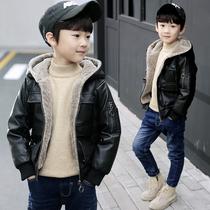童装男童加绒皮衣夹克2018冬装新款中大童儿童外套加厚男孩韩版潮