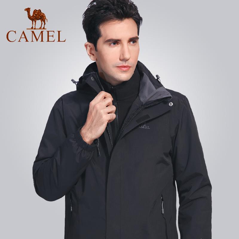 骆驼户外三合一冲锋衣男女款潮牌两件套可拆卸防水加绒加厚登山服