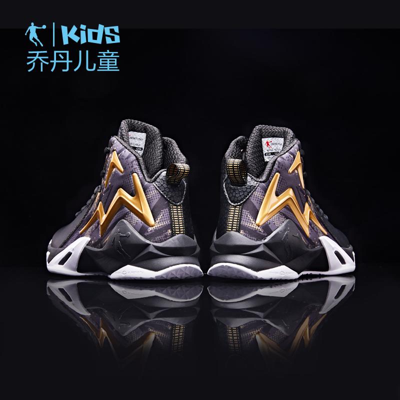 乔丹童鞋男童篮球鞋小学生秋季款大童高帮革面网面球鞋儿童运动鞋