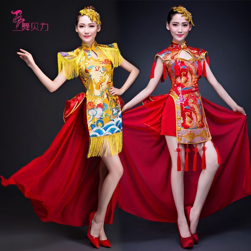 modern dance folk dances classical Dance costumes Yangko clothing drumming suits umbrella dance fan