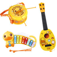 B.Duck small yellow duck ukulele beginner children small guitar toy can play boys and girls simulation musical instruments