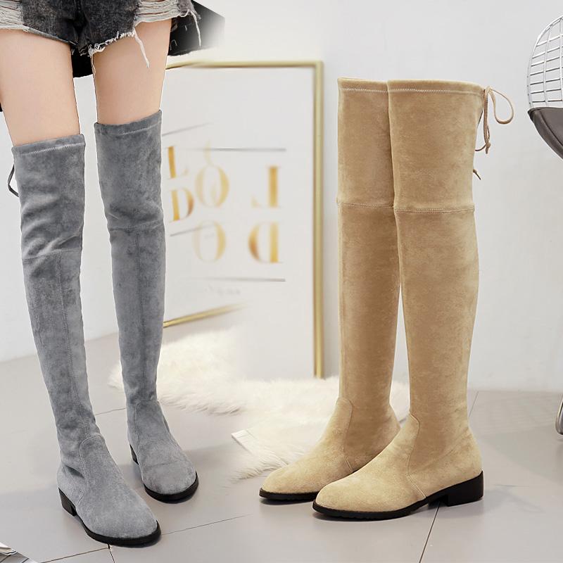 高筒靴过膝灰色