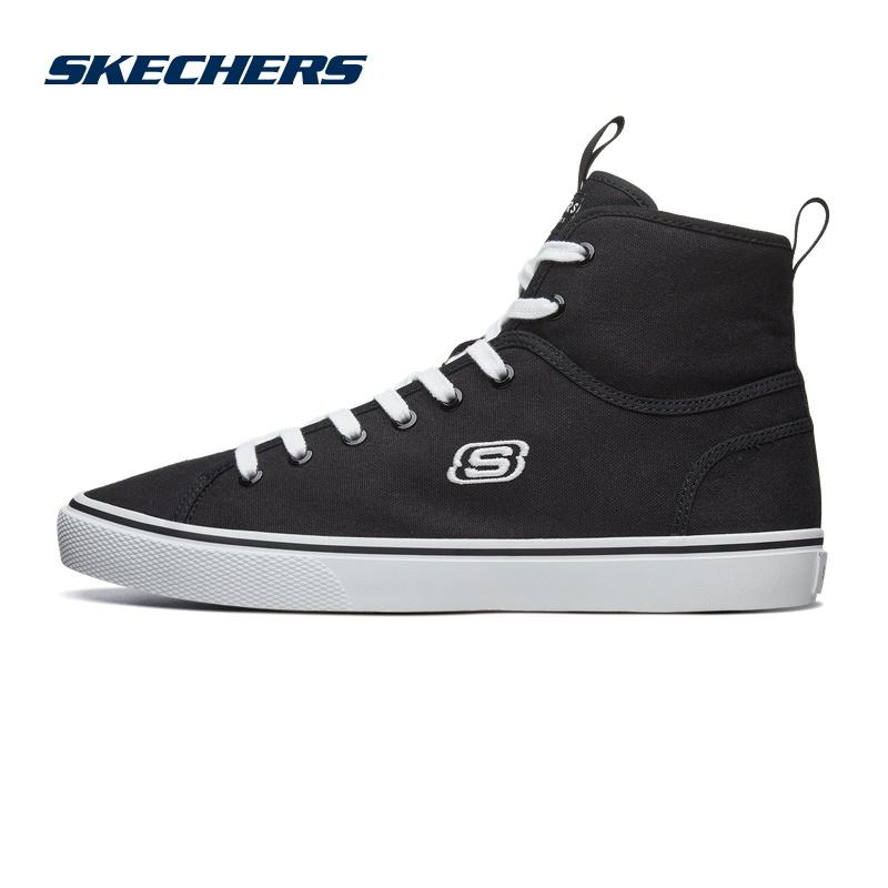 Skechers斯凯奇情侣鞋男鞋高帮帆布鞋小白鞋板鞋运动休闲鞋666110