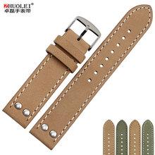 卓磊头层牛皮手表带男配件代用汉米尔顿卡其航空H7641675522mm