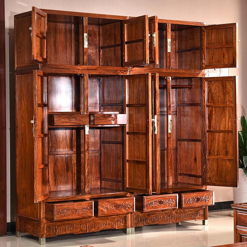 红木家具衣柜 卧室实木雕花顶箱柜 刺猬紫檀花梨木中式衣橱储物柜