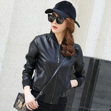 Leather Women New Baseball Wear in Spring and Autumn of 2019 Leather Jacket Short Style Student Leisure Plus Fleece Pudong Loose Winter Coat Tide