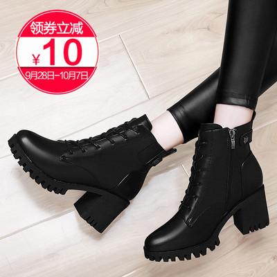 马丁靴女靴2018新款春秋冬季高跟鞋中跟粗跟百搭加绒靴子黑色短靴