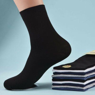袜子男纯棉中筒袜男士夏季薄款全黑色棉袜网防臭商务男袜夏天长袜