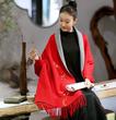 佛笑缘之手绘梅花 秋冬羊毛针织披肩 红色