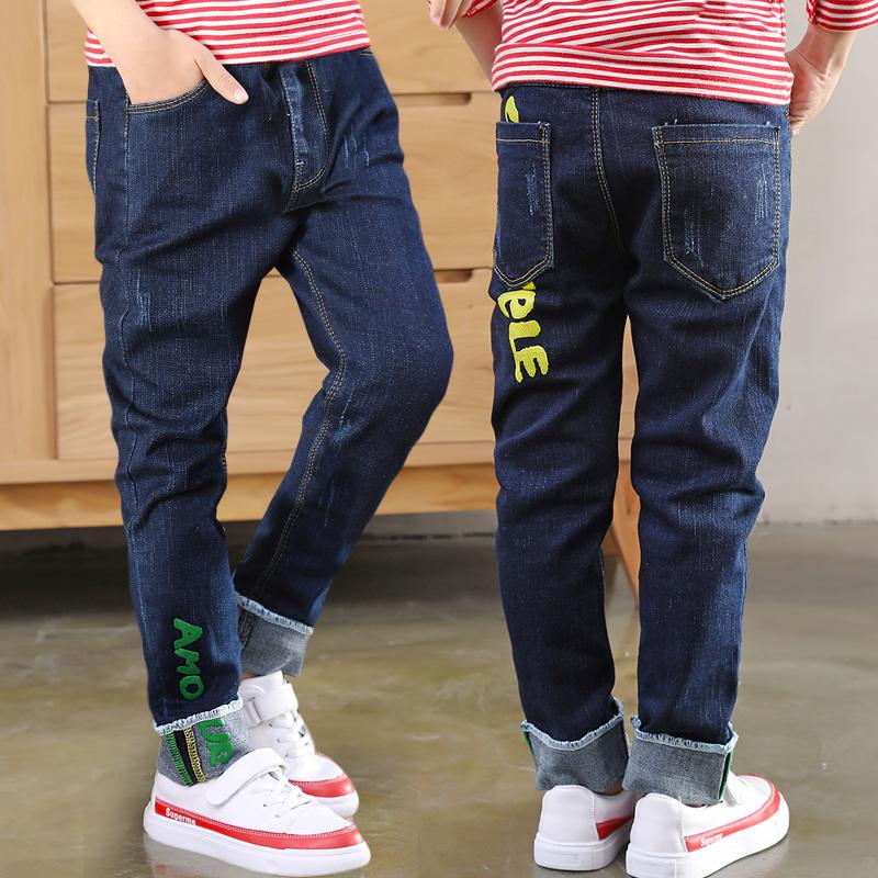 男童加绒牛仔裤长裤