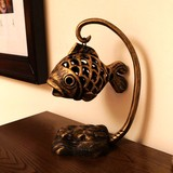 Gejia Ruier cast iron fish lamp aromatherapy stove personality retro wrought iron candlestick pendant accessories ornaments creative gifts