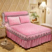 European warm method velvet quilted bed skirt single piece lace thick bed cover flannel coral velvet bed cover