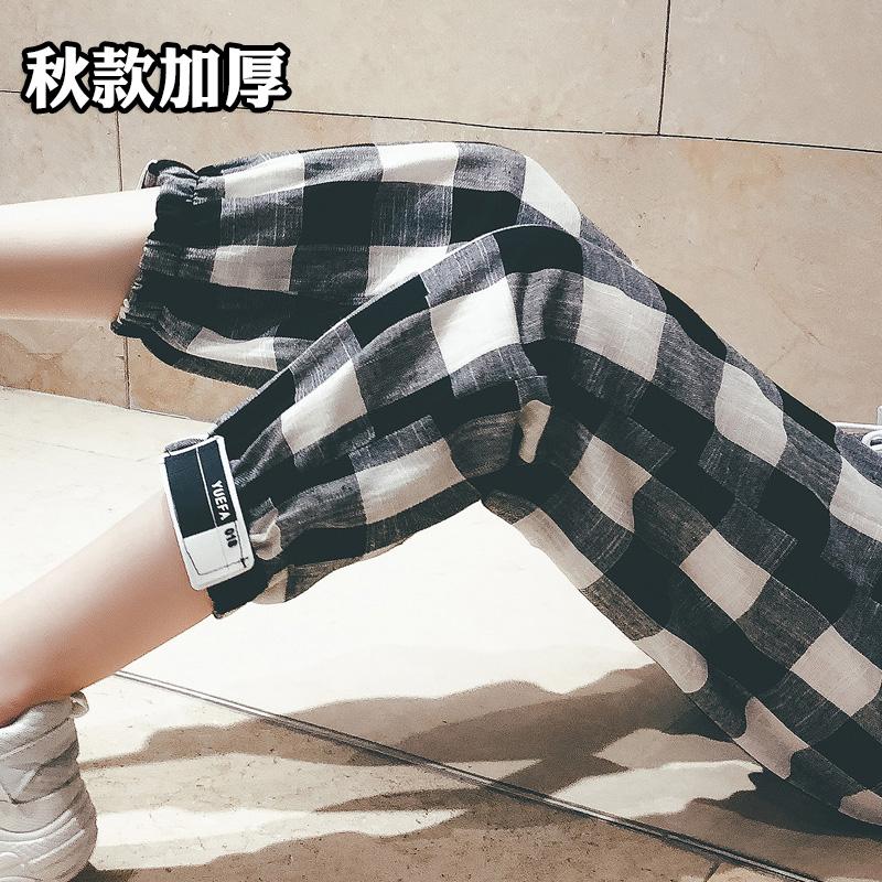 新款格子九分裤
