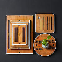 Pro-Kung Fu tea set simple tea tray household water storage Japanese round bamboo tray special small tea table dry bubble tray