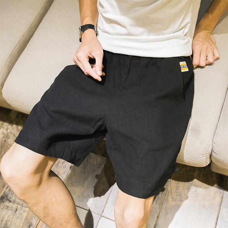 短裤男夏季棉麻宽松五分裤大码男士大裤衩韩版夏天沙滩裤中裤子潮