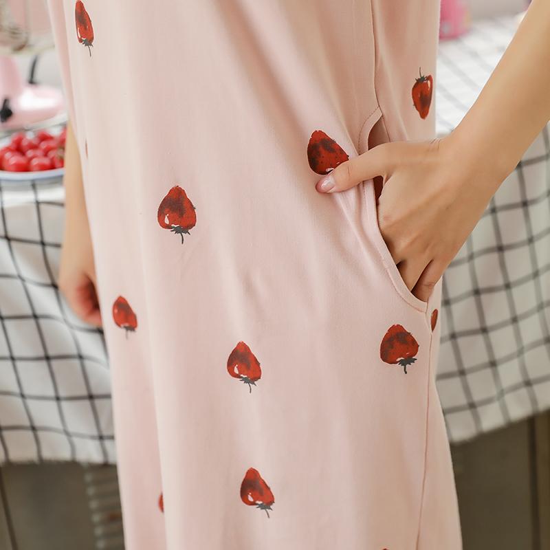 韩版可爱短袖夏天女夏季纯棉清新甜美睡裙带胸垫睡衣学生宽松长裙