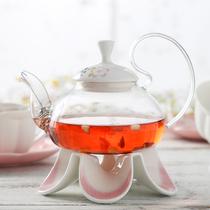 樱花玻璃茶壶透明过滤泡茶花茶壶茶壶加热水果花茶茶具套装
