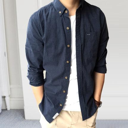 衬衣服薄款纯棉青少年 轻复古长袖衬衫男初夏季韩修身商务休闲寸