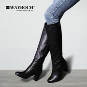真皮牛皮高跟粗跟及膝靴无拉链套筒黑色圆头长靴子秋冬高筒靴女靴