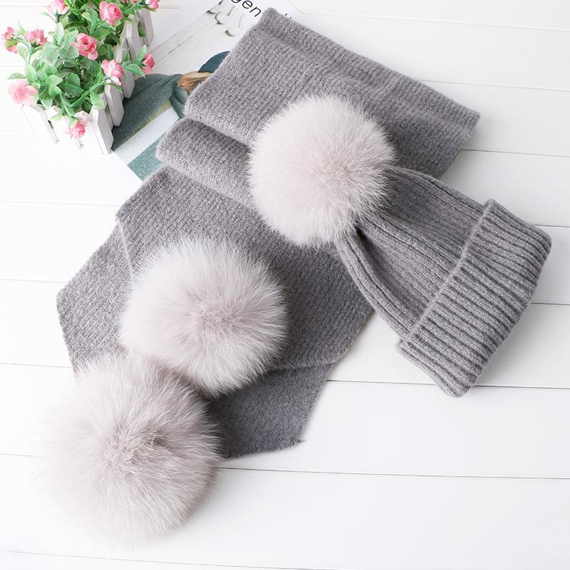 大球狐狸真毛球帽子围巾两件套毛线套装保暖针织帽冬天女帽子韩版