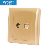 86 concealed wall switch socket champagne gold brushed socket panel closed circuit socket cable telephone socket