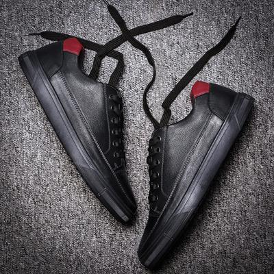 督马男鞋真皮黑色皮鞋青年韩版板鞋春季休闲鞋男士百搭大码鞋子男