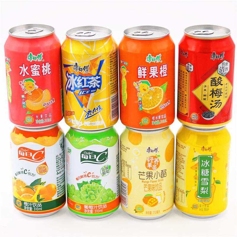 康师傅果汁饮料冰红茶310ml*24罐整箱批发茶饮品酸梅汤冰糖雪梨橙