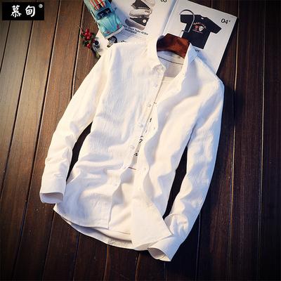 棉麻衬衫男士韩版修身潮流帅气休闲亚麻长袖衬衣白色寸衫秋季上衣