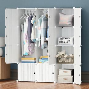 成人简易组合衣柜塑料收纳柜子架钢组装单人储物柜简约现代经济型