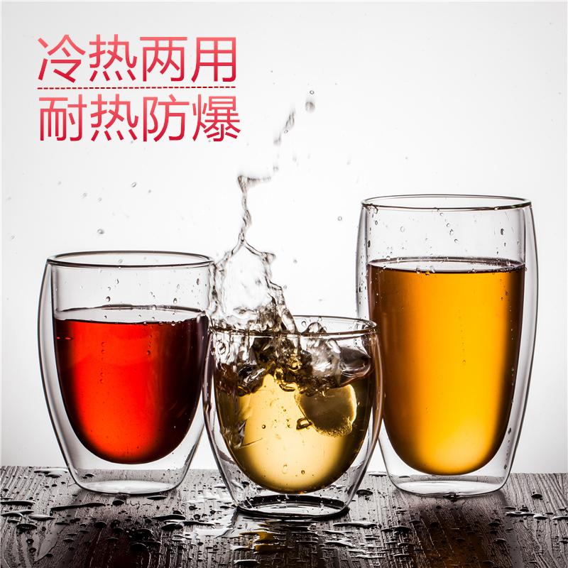 隔热咖啡透明不花茶杯水杯牛奶烫手玻璃杯