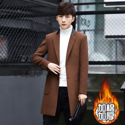 冬季男士毛呢大衣加厚呢子外套韩版修身加棉风衣中长款羊毛大衣