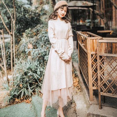 2018女秋冬装开叉毛衣不规则网纱连衣裙两件套针织长裙文艺套装
